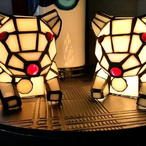 Adorable pair stained glass dog lights